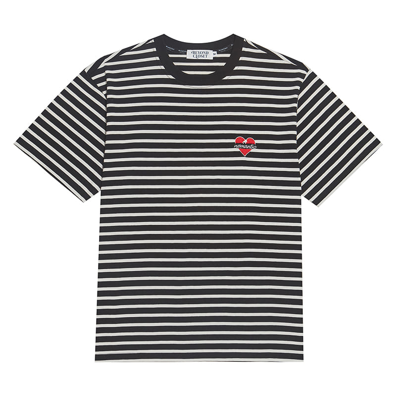 NOMANTIC STRIPE 1/2 T-SHIRTS BLACK