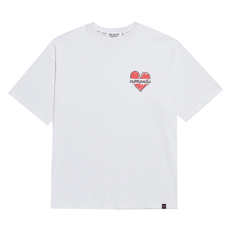 NOMANTIC CRAYON LOGO 1/2 T-SHIRTS WHITE