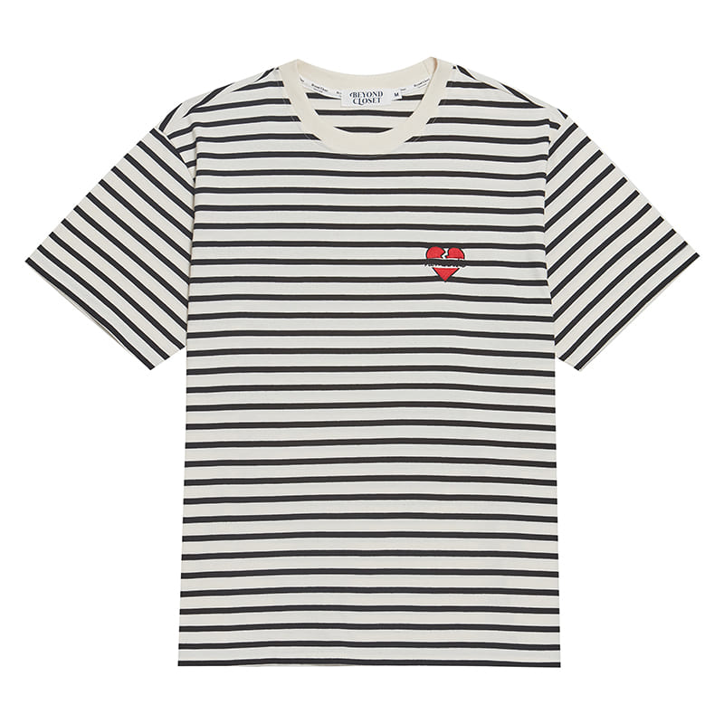 NOMANTIC STRIPE 1/2 T-SHIRTS IVORY