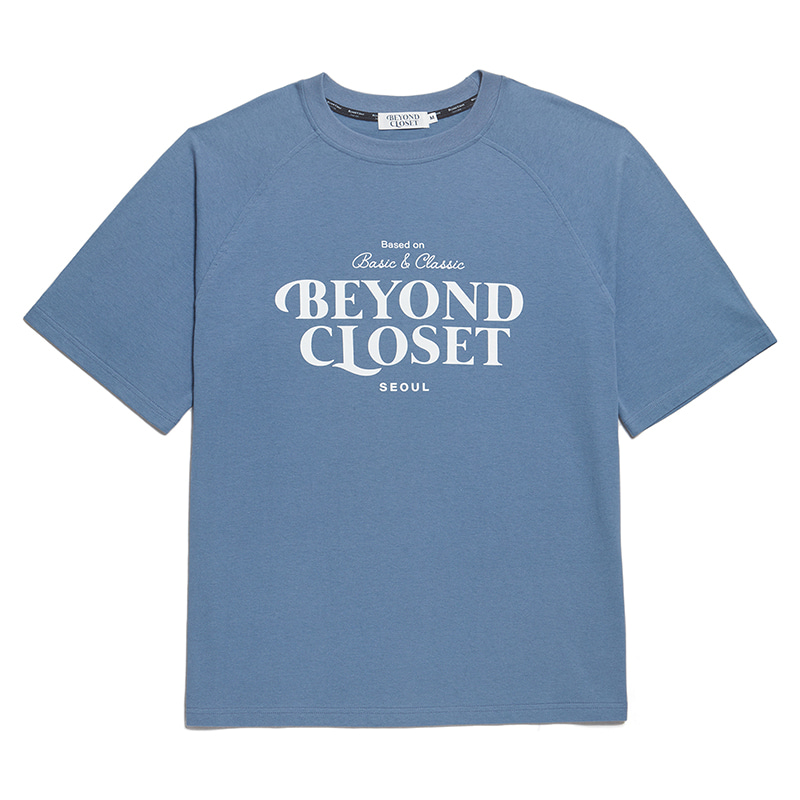NEW LOGO WASHED COTTON 1/2 T-SHIRTS BLUE