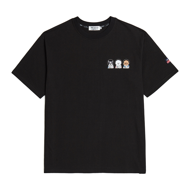 APOLLO CREW LOGO 1/2 T-SHIRTS BLACK